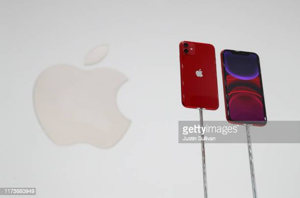 The new Apple iPhone 11 is displayed during a special event on September 10 2019 in the Steve Jobs Theater on Apple's Cupertino California campus...