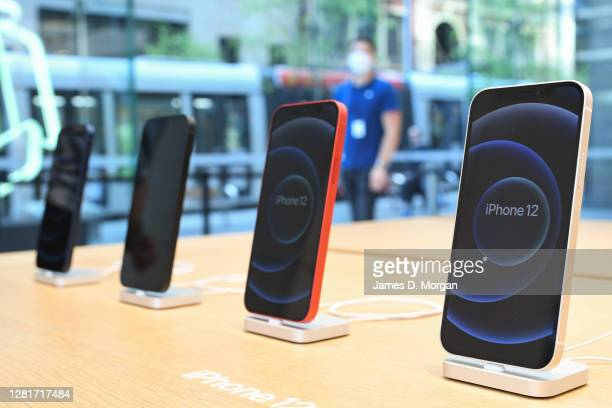 The new Apple iPhone 12 on display in the George Street Apple retail store on October 23, 2020 in Sydney, Australia. The iPhone 12 features the A14...