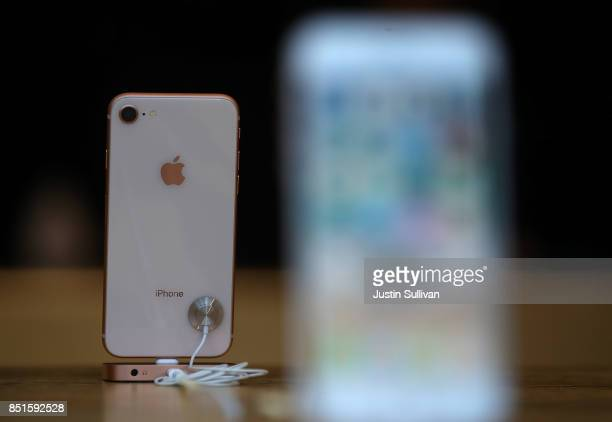 The new Apple iPhone 8 is displayed at an Apple Store on September 22 2017 in San Francisco California The new Apple iPhone 8 and 8 Plus as well as...