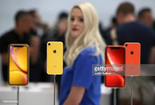 The new Apple iPhone XR is displayed during an Apple special event at the Steve Jobs Theatre on September 12 2018 in Cupertino California Apple...