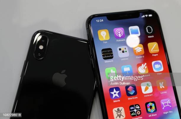 The new Apple iPhone Xs and iPhone Xs Max are displayed during an Apple special event at the Steve Jobs Theatre on September 12 2018 in Cupertino...
