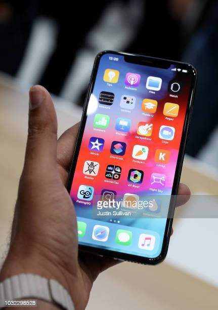The new Apple iPhone Xs Max is displayed during an Apple special event at the Steve Jobs Theatre on September 12 2018 in Cupertino California Apple...