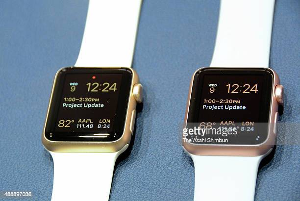 The new Apple Watch are displayed in the demo area after an Apple special event at Bill Graham Civic Auditorium September 9 2015 in San Francisco...