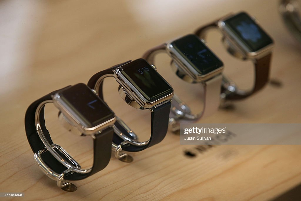 The new Apple Watch is displayed at the Apple Store on June 17, 2015 in San Francisco, California. Apple began selling the Apple Watch in its stores Wednesday with their reserve and pick up service. Previously the product could only be ordered online.