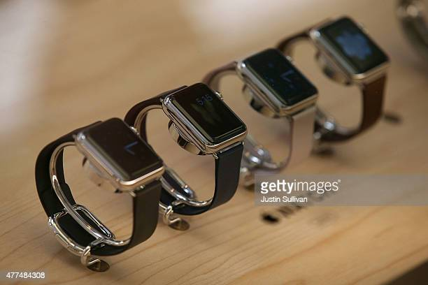The new Apple Watch is displayed at the Apple Store on June 17 2015 in San Francisco California Apple began selling the Apple Watch in its stores...