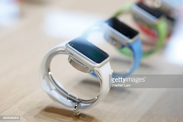 The new Apple Watch is seen on display after an Apple special event at the Yerba Buena Center for the Arts on March 9 2015 in San Francisco...