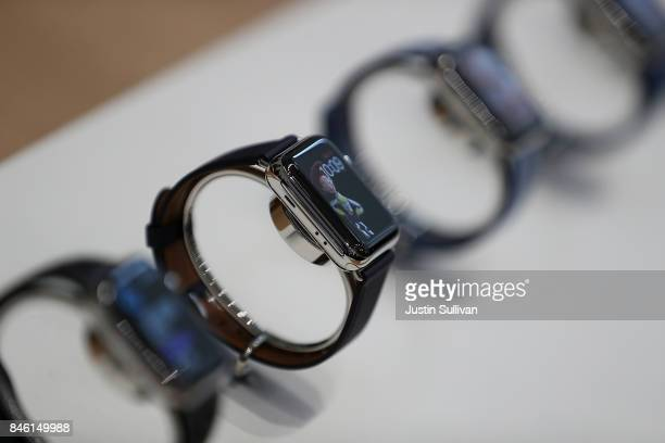 The new Apple Watch Series 3 is displayed during an Apple special event at the Steve Jobs Theatre on the Apple Park campus on September 12 2017 in...