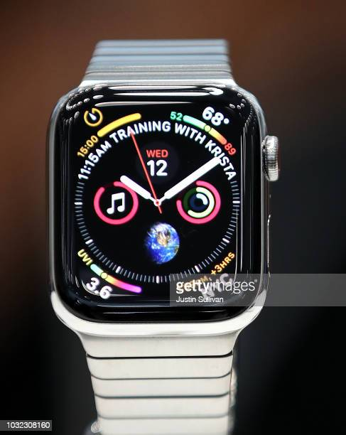 The new Apple Watch Series 4 is displayed during an Apple special event at the Steve Jobs Theatre on September 12 2018 in Cupertino California Apple...