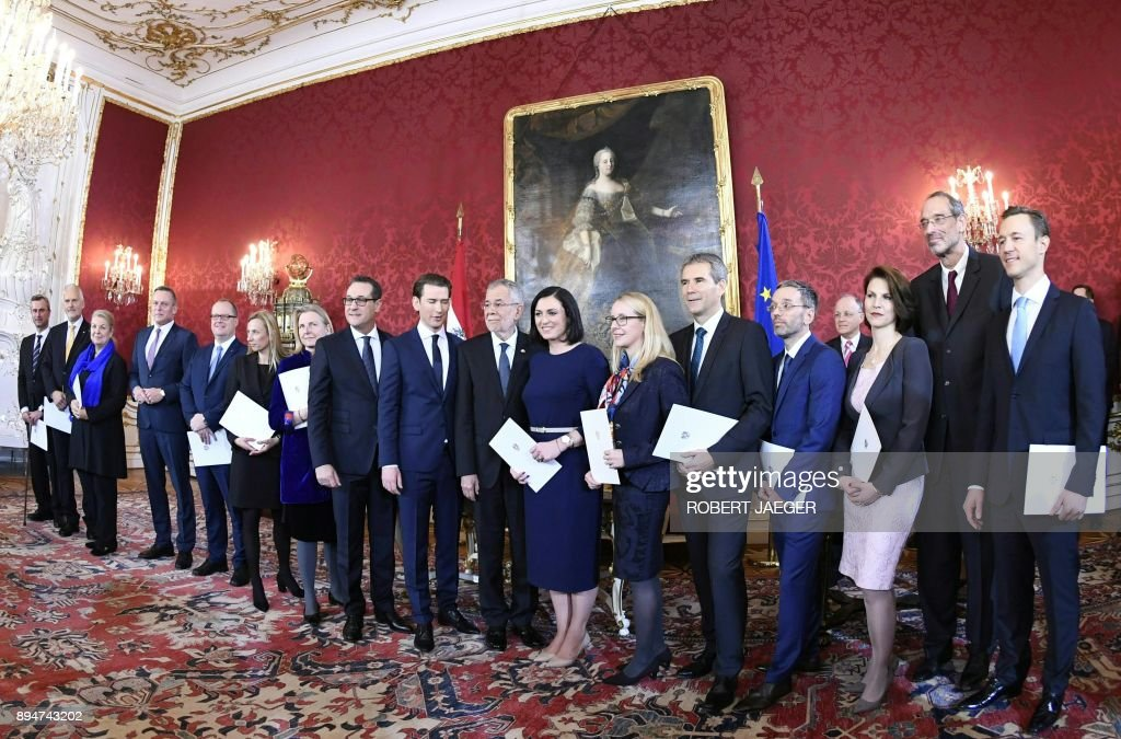 The New Appointed Austrian Cabinet And Austrian President Alexander Van Der  Bellen Pose During The Inauguration