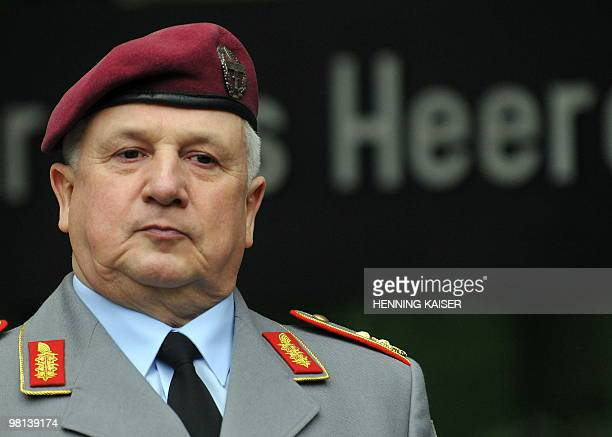 The new army inspector major general Werner Freers stands during the official handover of the commandership of the army in Bonn western Germany on...