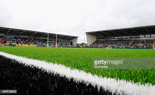 The new artificial pitch gets it's first Premiership outing during the Aviva Premiership match between Newcastle Falcons and London Irish at Kingston...