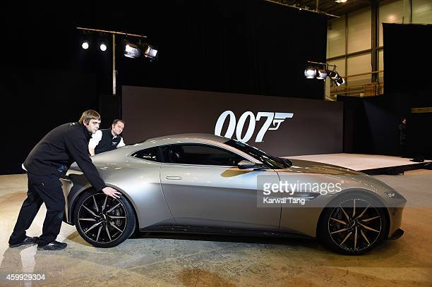 The new Aston Martin DB10 at the photocall to announce the start of the production of the 24th Bond Film 'Spectre' at Pinewood Studios on December 4...