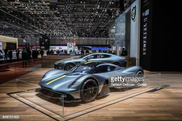 The new Aston Martin Valkyrie on display during the second press day of the Geneva Motor Show 2017 at the Geneva Palexpo on March 8 2017 in Geneva...