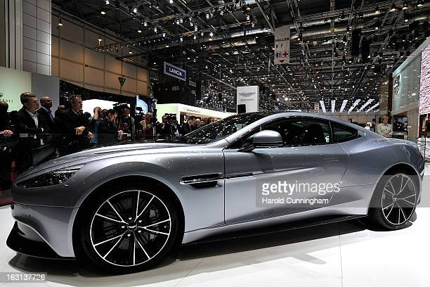 The new Aston Martin Vanquish is seen during the 83rd Geneva Motor Show on March 5 2013 in Geneva Switzerland Held annually the Geneva Motor Show is...
