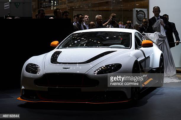 The new Aston Martin Vantage GT3 is unveilled at the stand of the British carmaker on March 3 2015 during the press day of the Geneva Car Show in...