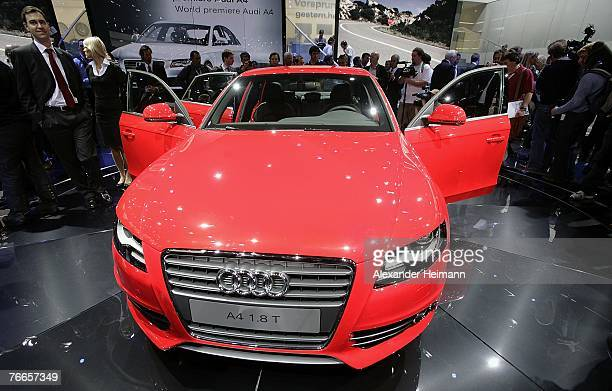 The new Audi A4 is seen during the pressdays of the 62nd International Motorshow IAA on September 11 2007 in Frankfurt Germany From September 11...