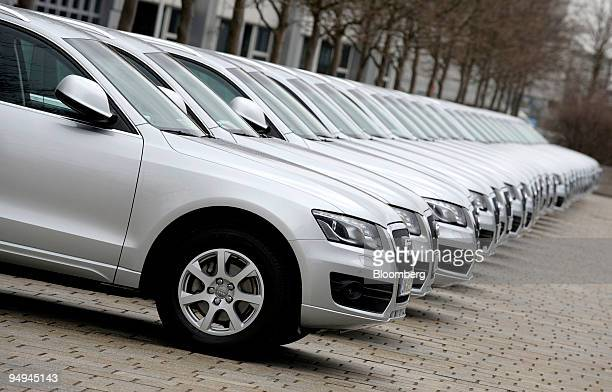 The new Audi Q5 sits on display during the company's full year earnings press conference in Ingolstadt Germany on Tuesday March 10 2009 Volkswagen...