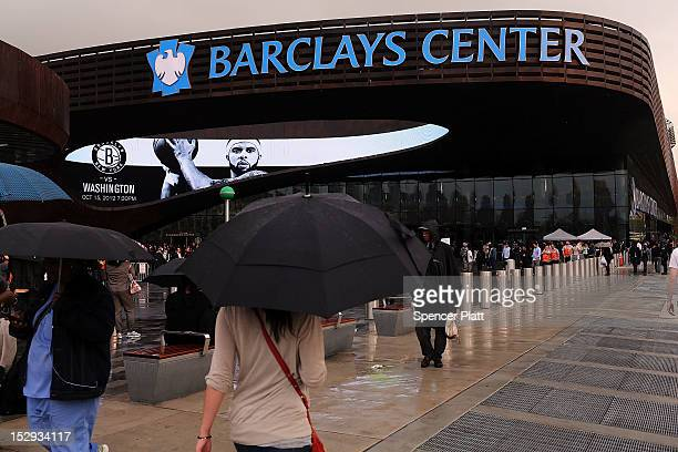 The new Barclays Center is shown during opening night which was to feature recording artist JayZ a part owner of the Brooklyn Nets on September 28...