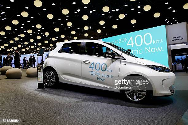 The new battery-powered Zoe city car, manufactured by Renault SA, sits on display during the second press day of the Paris Motor Show at Porte de...