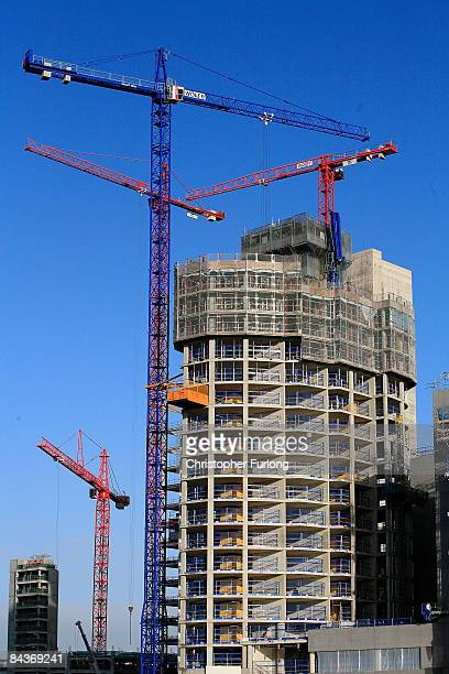 The new BBC Media City UK Studios development takes shape as construction work on the Salford Quays site gains momentum on January 20 2009 in Salford...