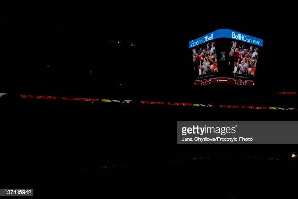 The new Bell HD screen is in in a darken arena prior to the start of an NHL game between the Ottawa Senators and the Winnipeg Jets at Scotiabank...