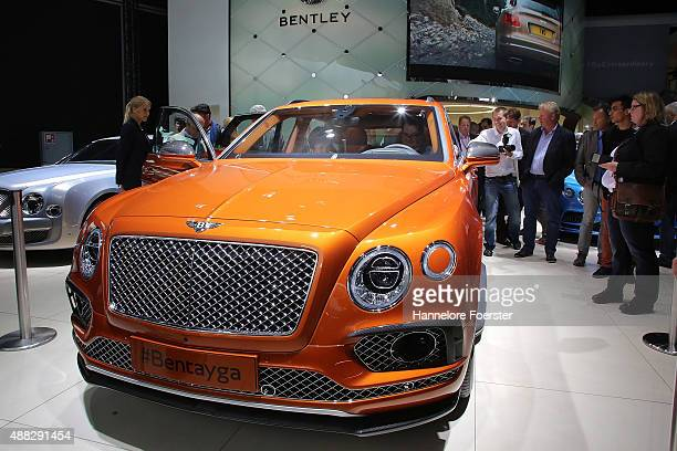 The new Bentley Dawn stands at the Bentley stand at the 2015 IAA Frankfurt Auto Show during a press day on September 15 2015 in Frankfurt Germany The...