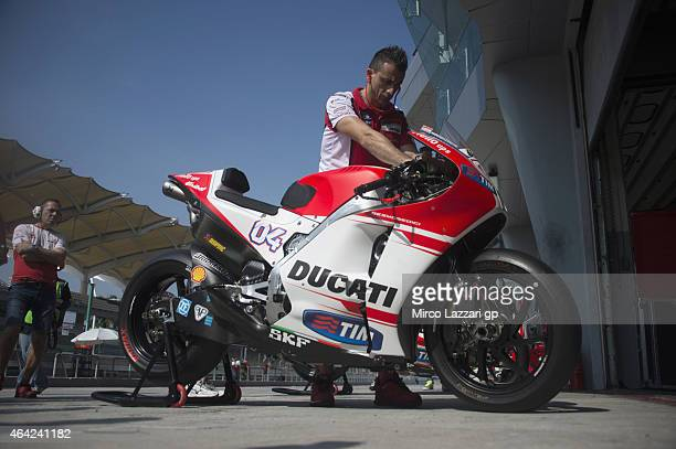 The new bike of Andrea Dovizioso of Italy and Ducati Team in box during the MotoGP Tests in Sepang Day One at Sepang Circuit on February 23 2015 in...