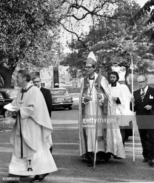 The new Bishop of Durham, Dr. John Habgood going to his 'welcoming service' at Holy Trinity School, Stockton, 4th June 1973.
