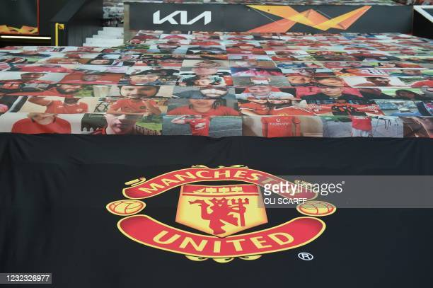 The new black pitch-side seat coverings with the United logo is seen ahead of the UEFA Europa league quarter final, second leg football match between...