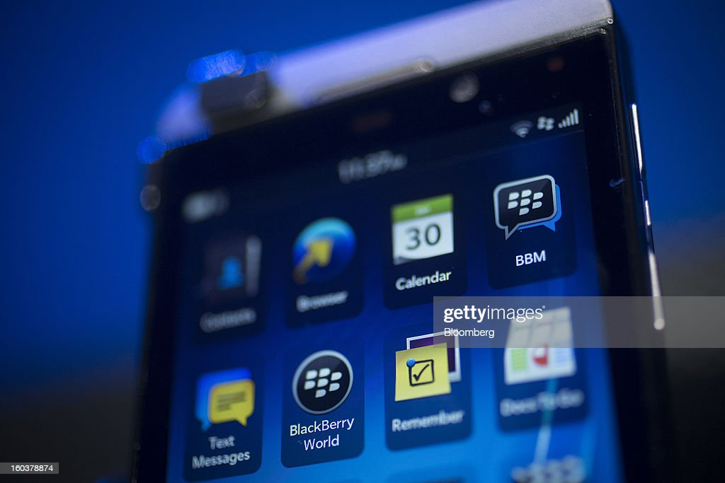 The new BlackBerry 10 is displayed during the device's launch in New York, U.S., on Wednesday, Jan. 30, 2013. Research In Motion Ltd. (RIM), taking the name of its best-known product, will now be known simply as BlackBerry, part of a comeback plan that includes unveiling a redesigned line of smartphones today. Photographer: Scott Eells/Bloomberg via Getty Images