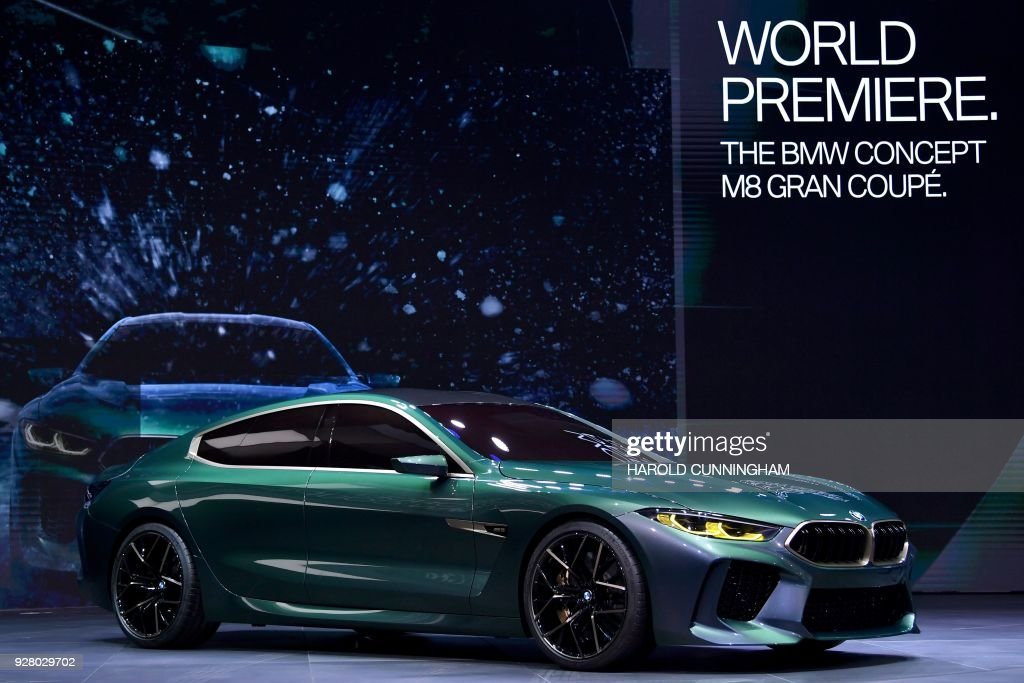 The new BMW Concept M8 Gran Coupé is displayed as World premiere at the German car maker's booth during a press day ahead of the Geneva International Motor Show on March 6, 2018 in Geneva. The show opens to the public on March 8 and runs through March 18. /