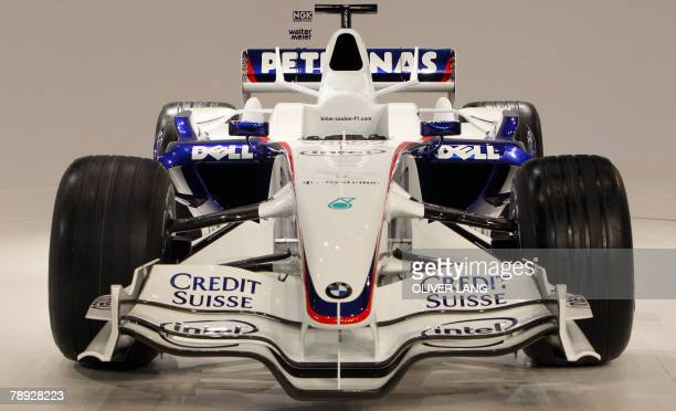The new BMW F108 BMW Sauber formula one car for the 2008 season ins presented 14 January 2008 at the BMW World center in Munich The BMW will be...