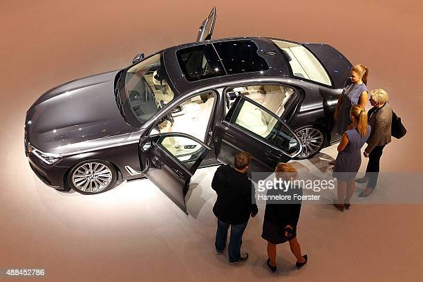 The new BMW Li x Drive stands at the BMW stand at the 2015 IAA Frankfurt Auto Show during a press day on September 16 2015 in Frankfurt Germany The...