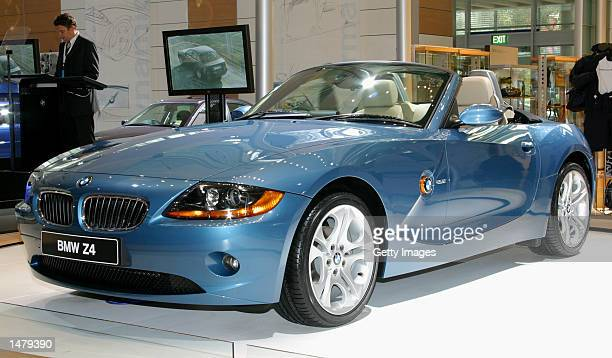 The new BMW Z4 roadster is revealed at the Sydney International Motor Show on October 17 2002 in Sydney Australia The Z4 is the successor to the...