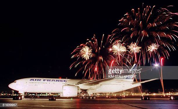 The new Boeing 777 is officially delivered to Air France under a shower of fireworks 28 March in Seattle Washington The first of 10 Boeing 777's is...