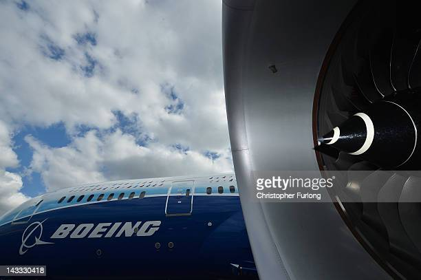The new Boeing Dreamliner 787 fitted with Rolls Royce engines sits on the tarmac at Manchester Airport during it's tour of the world on April 24 2012...