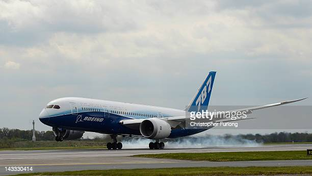 The new Boeing Dreamliner 787 lands on the tarmac at Manchester Airport during it's tour of the world on April 24 2012 in Manchester England The...
