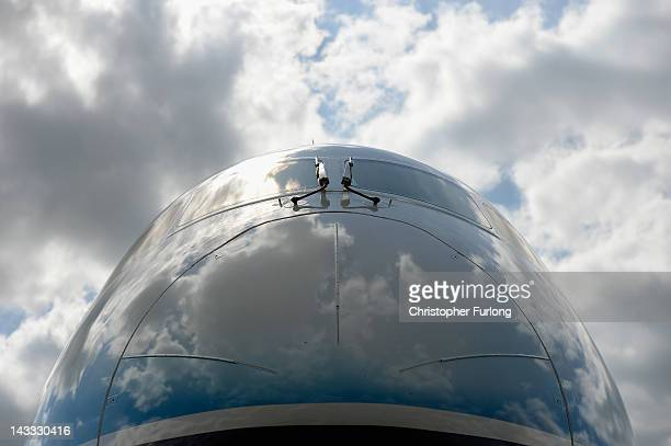 The new Boeing Dreamliner 787 sits on the tarmac at Manchester Airport during it's tour of the world on April 24 2012 in Manchester England The...
