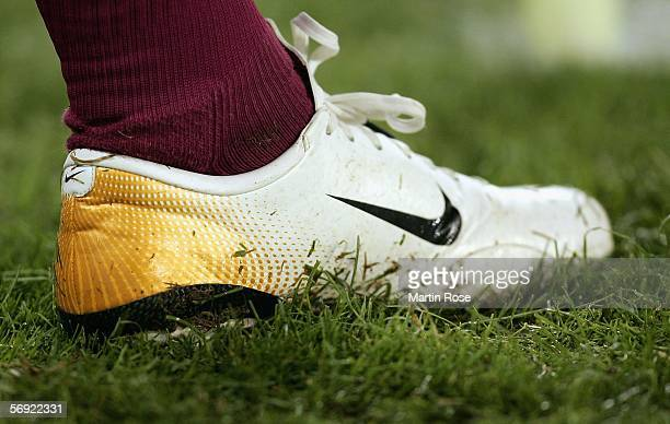 The new boot of Rafael van der Vaart is seen during the UEFA Cup round of 32 second leg match between Hamburger SV and FC Thun at the AOL Arena on...