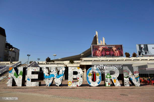 The New Born monument is seen on February 20, 2019 in Pristina, Kosovo. President Hashim Thaci has said that 2019 should be the year Kosovo reaches...