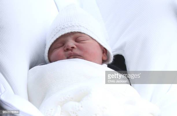 The new born son Prince Louis of Cambridge of Prince William Duke of Cambridge and Catherine Duchess of Cambridge as they depart the Lindo Wing at St...