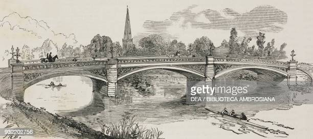 The new bridge opening of an iron bridge over the Ouse river at Bedford United Kingdom illustration from the magazine The Graphic volume XXX no 778...