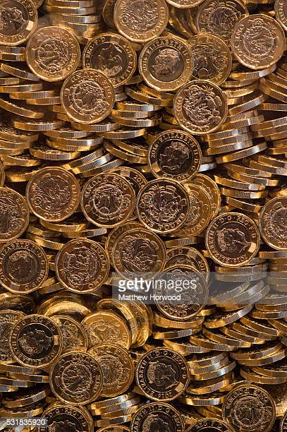 The new British £1 coin is displayed during the opening of the Royal Mint Experience at the Royal Mint on May 17 2016 in Pontyclun Wales The new...