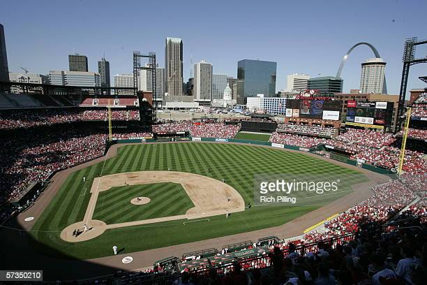 The new Busch Stadium is shown during the St Louis Cardinals home opener against the Milwaukee Brewers on April 10 2006 at the New Busch Stadium in...
