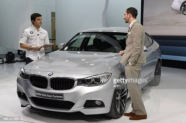 The new BWM 335i Gran Turismo is displayed in World premiere at the German carmaker's booth on March 5 2013 on the press day of the Geneva car Show...