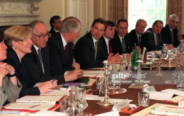 The new cabinet meet at Downing Street for the first time this morning Clare Short Anne Taylor Donald Dewar Sir Robin Butler Tony Blair John Prescott...