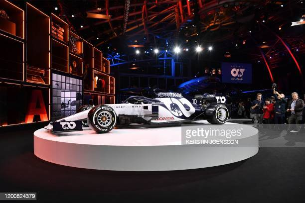 The new car is unveiled at the presentation of Italian Formula One racing team Alpha Tauri at Hangar 7 in Salzburg Austria on February 14 2020