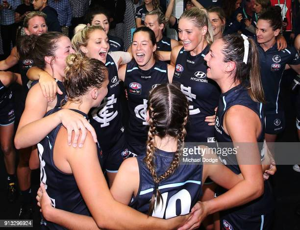 The new Carlton Blues players celebrates the win during the round one AFLW match between the Carlton Blues and the Collingwood Magpies at Ikon Park...