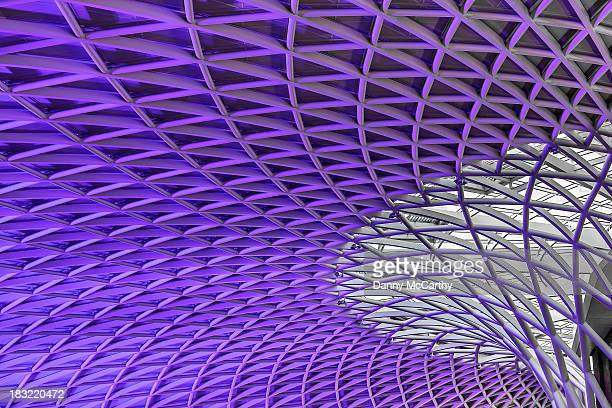 The new ceiling at Kings Cross Station, taken in the evening when the colour purple lit it.