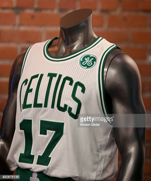 The new Celtics jersey featuring a General Electric logo is displayed in Boston on Jan 25 2017
